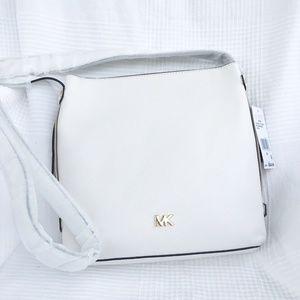 MK Optic White Leather Griffin Messenger Bag
